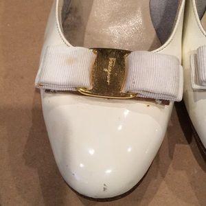 Salvatore Ferragamo Shoes - Salvatore Ferragamo White Patent Leather Vara 9 B